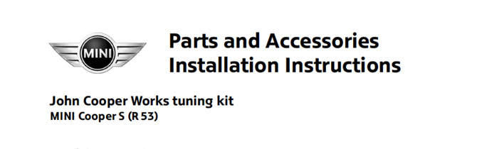 JCW Tuning Kit Installation instructions