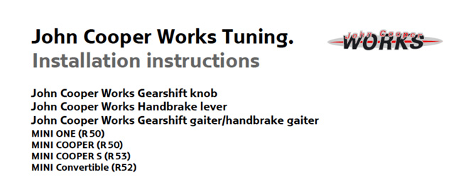 JCW Tuning Installation instructions