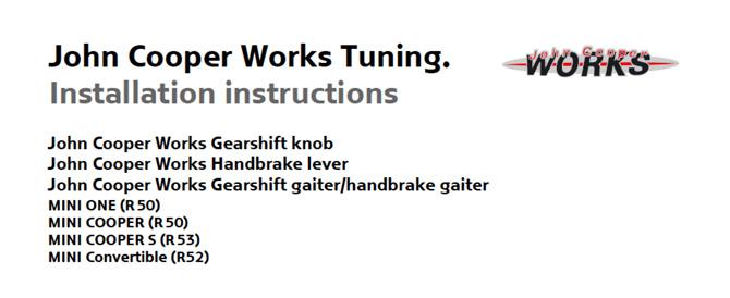 JCW Tuning Installation instructions